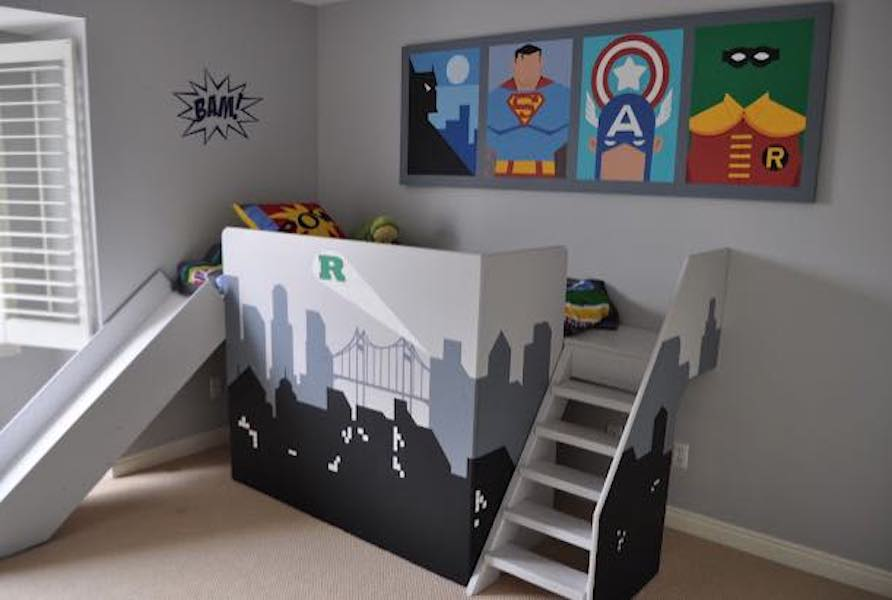 Free plans to build a Super Hero Bed.