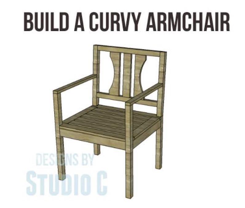 Build a Curvy Arm Chair using free plans.