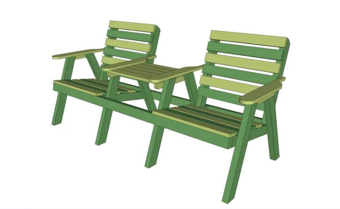 Free plans to build a 2 Seat Garden Bench.