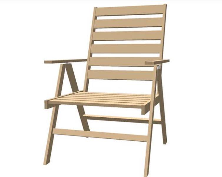 Free plans to build a Deck Chair using SketchUp.