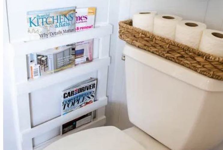 Free plans to build a Magazine Rack for the Bathroom.