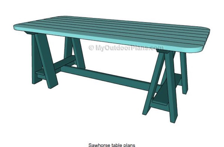 Build an Outdoor Sawhorse Table using free plans.