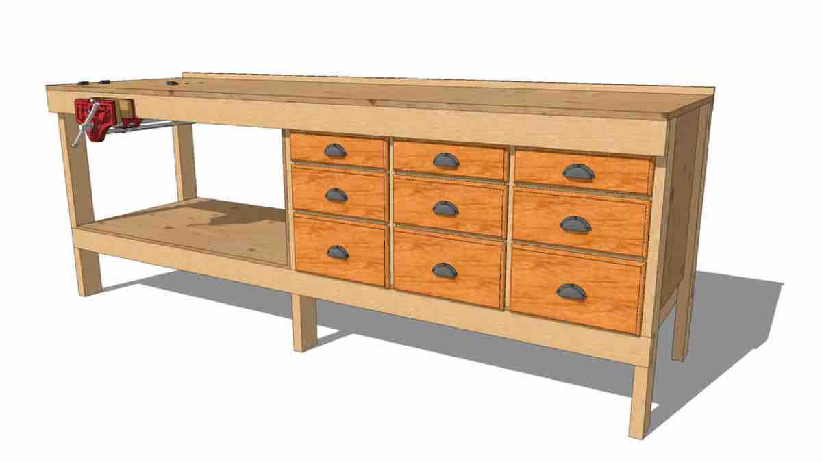 How to build a 9 Drawer 2x4 Workbench free project