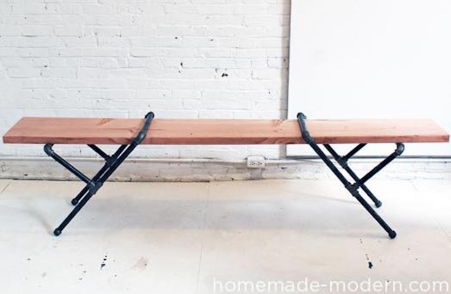 Free woodworking plans to build a modern Pipe Bench.