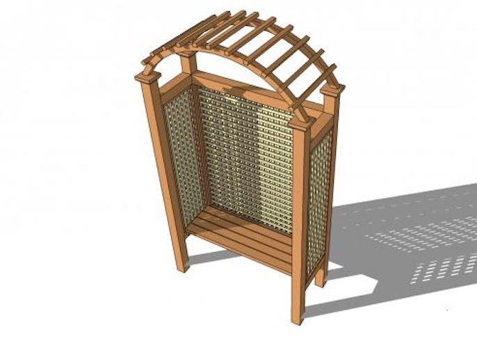 Free plans to build an Arbor with Bench and Lattice.