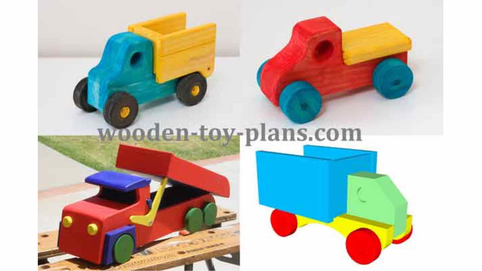 Free plans to build wooden toy trucks.