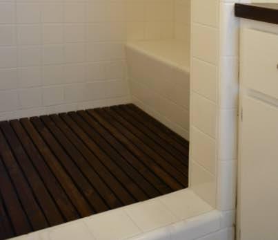 Build a Cedar Shower Floor Mat.