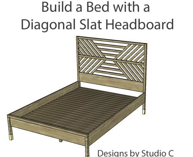 Diagonal Slatted Queen Bed