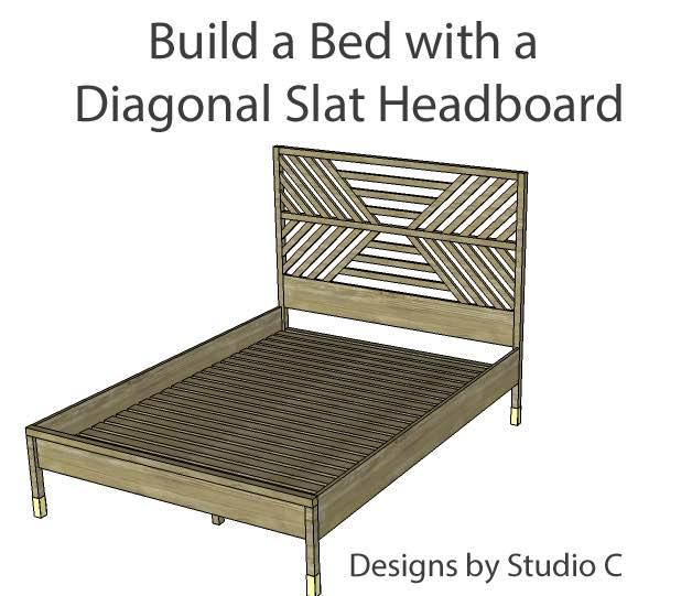 Build a Diagonal Slatted Queen Bed.
