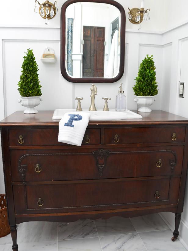 Learn how to Turn a Dresser into a Vanity.