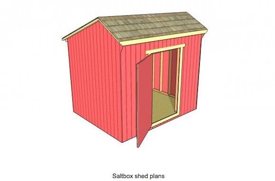 Free building plans for a Saltbox Shed.