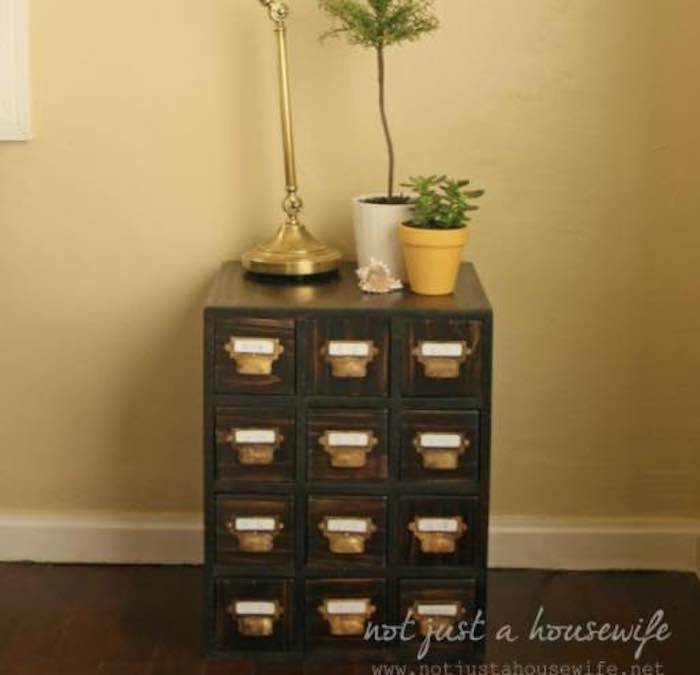 Free plans to build a Card Catalog Cabinet.