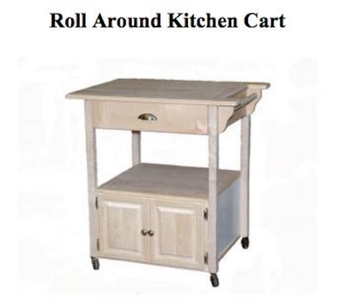 Build a Roll Around Kitchen Cart using free plans.