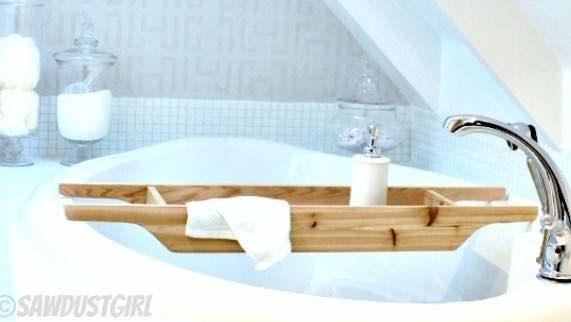 Build your own bathtub caddy.