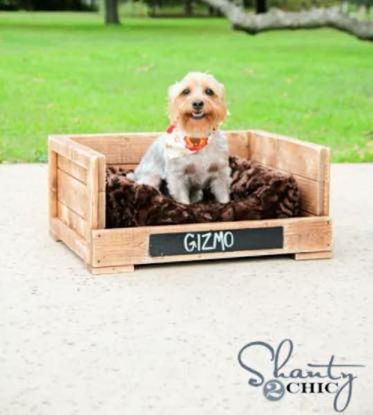 Build a Rustic Pet Bed using free plans.