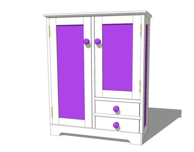 Build a Doll Armoire using free plans.