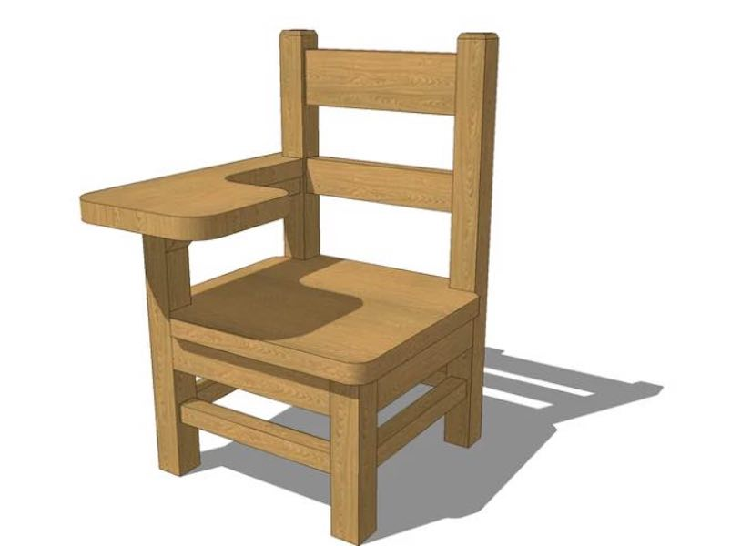 Free plans to build a Doll School Chair.