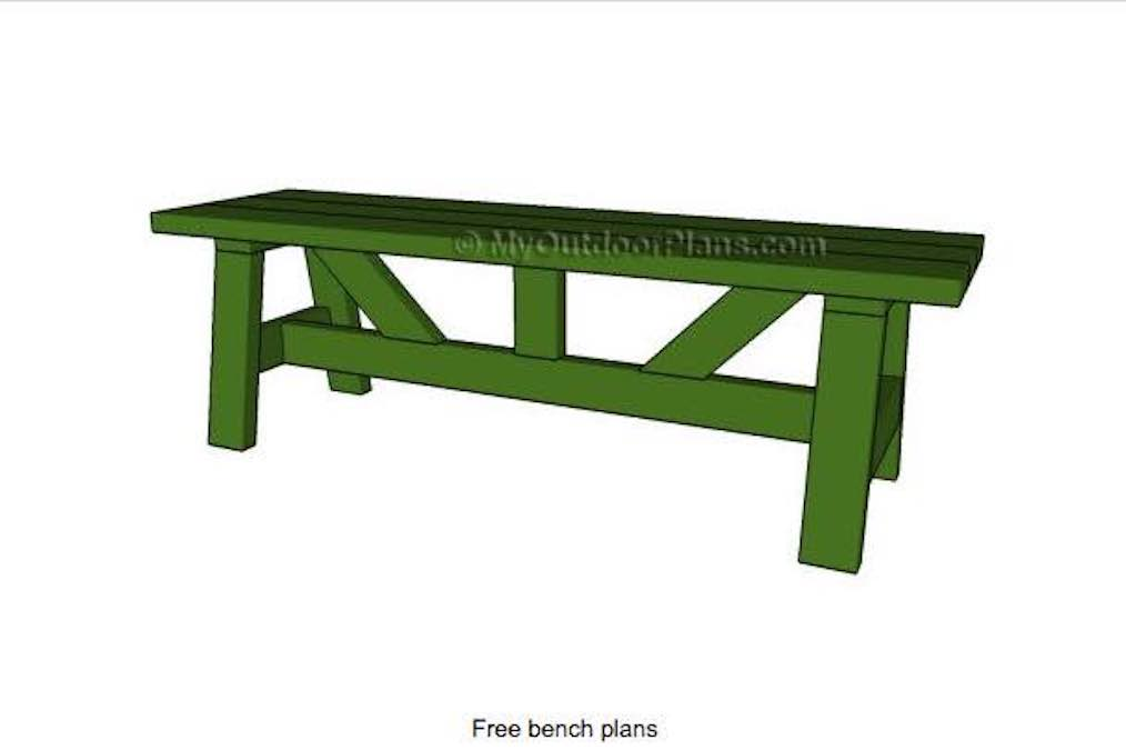 Free woodworking plans to build an outdoor Bench.