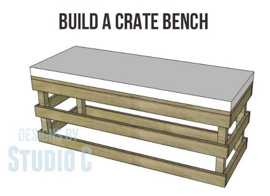 Free plans to build a Crate Bench.