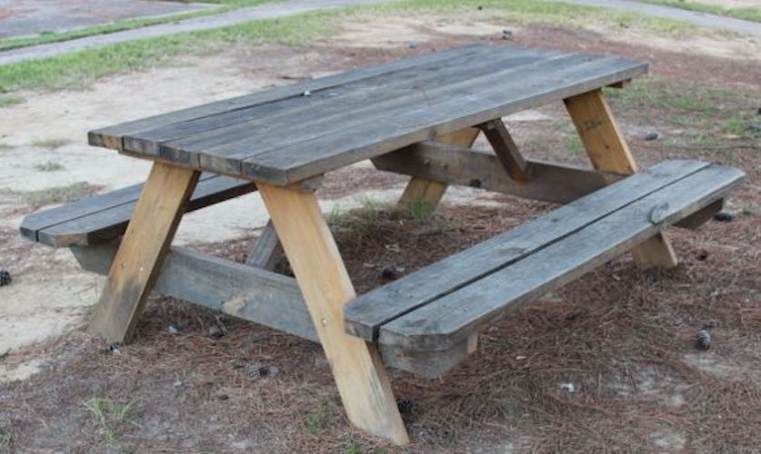 Free plans to build a Traditional Picnic Table.