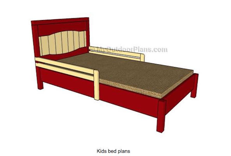 Build a Kids Bed With Side Rails using free plans.