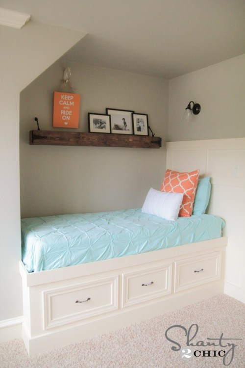 Free plans to build a Built-In Storage Bed.