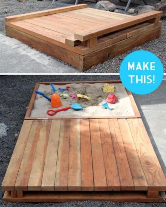 Build a Sandbox With Flip Open Cover using free plans.