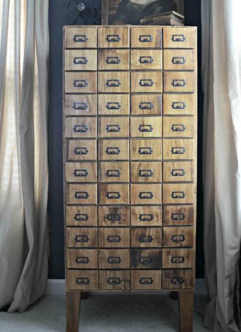 Build a Faux Card Catalog Cabinet using free plans.