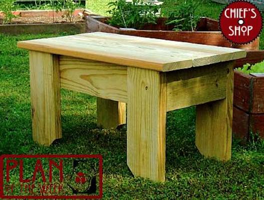 Free plans to build a Garden Stool.