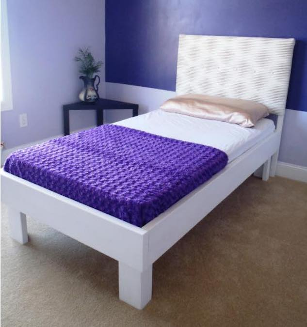 Free plans to build a Twin Bed with Upholstered Headboad.