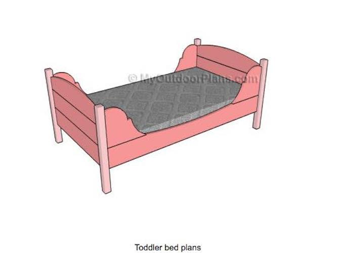 Free plans to build a Toddlers Twin Bed.