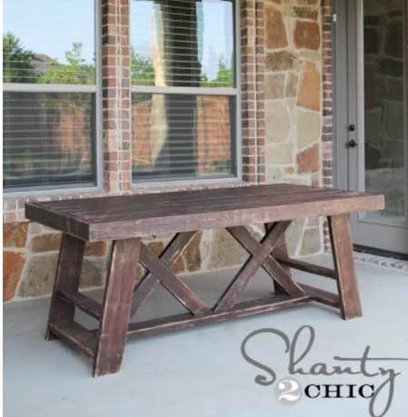 Build a Dining Table For The Great Outdoors using free plans.