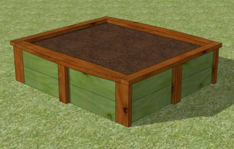 Free plans to build a 4 x 4 Raised Garden Bed.