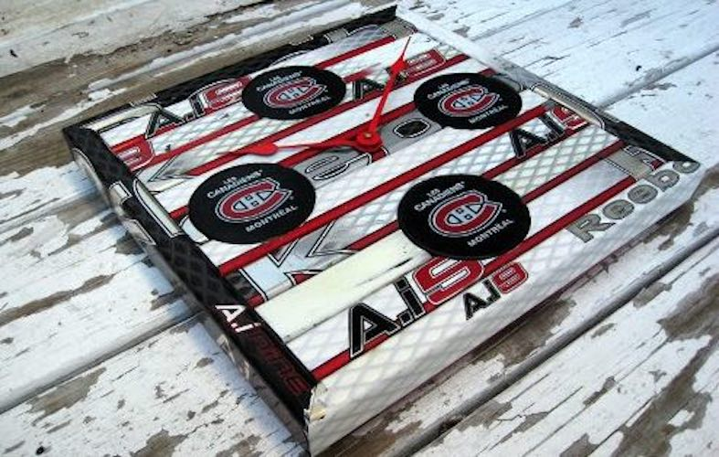 Build a Hockey Stick Clock with Pucks using free plans.