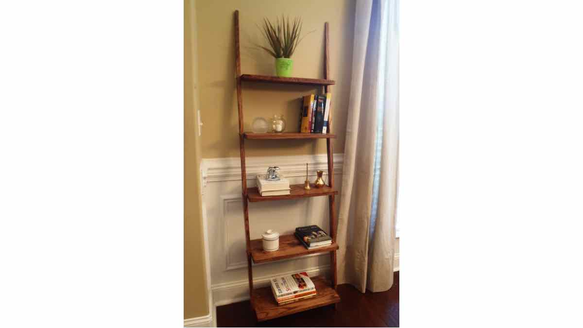 ladder shelves,leaning shelves,diy,free woodworking plans,free projects,do it yourself