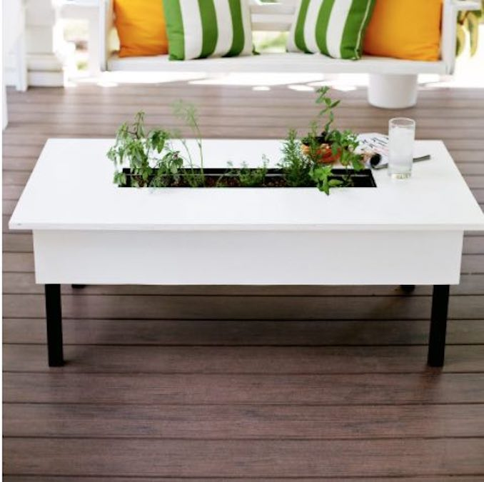 Free plans to build a Herb Garden Coffee Table.