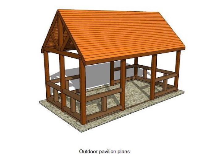 Free plans to build a backyard Pavilion.