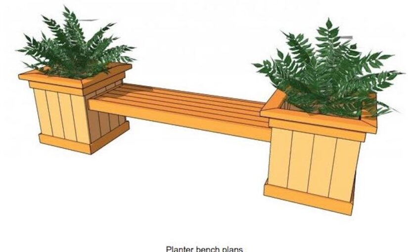 Free plans to build an outdoor Planter Bench.