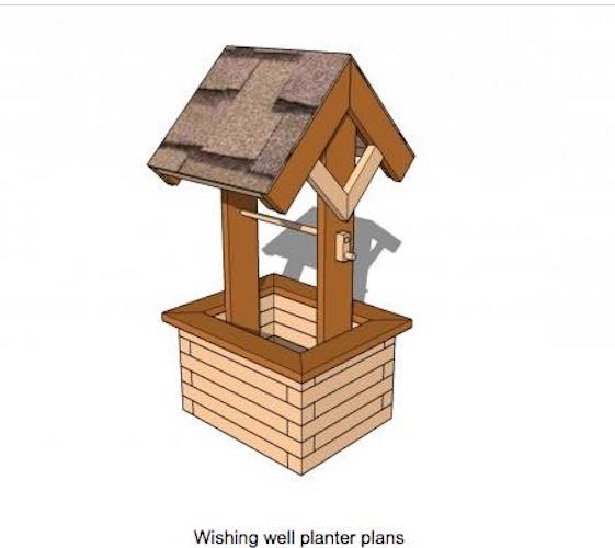 Free plans to build a Wishing Well Planter.