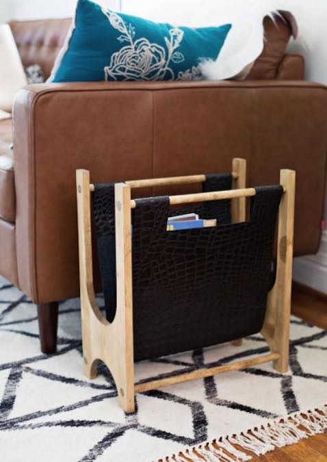 Build a Wood and Leather Magazine Rack using free plans.