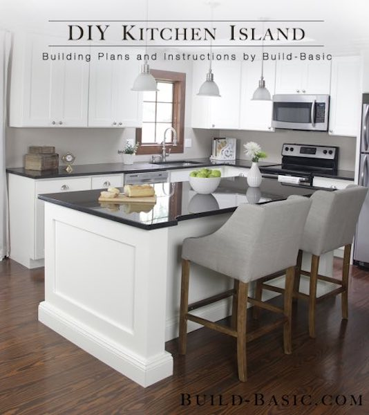 Free plans to build a Stock Cabinet Kitchen Island.
