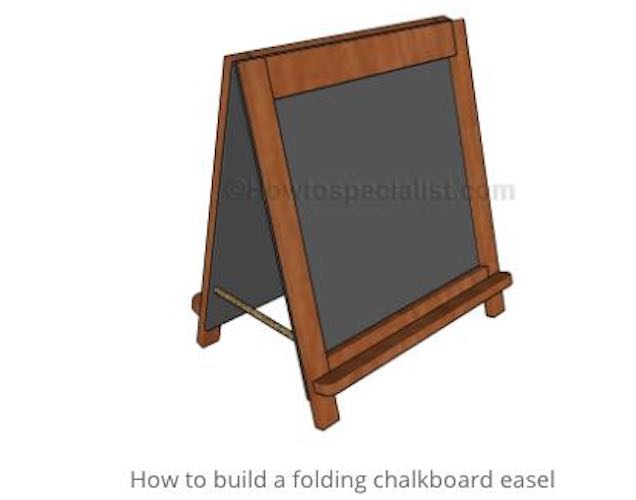 Build a Small Folding Chalkboard Easel using free plans.