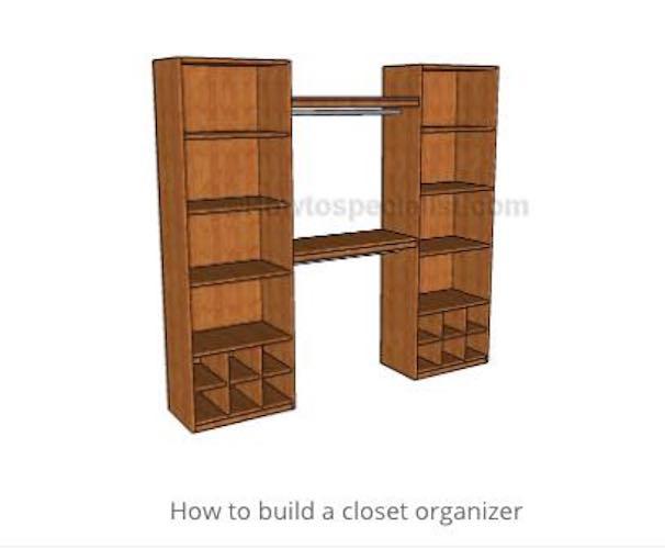 Build a DIY Closet Organizer using free plans.