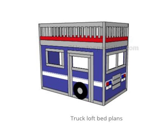 Build a Truck Loft Bed using free plans.