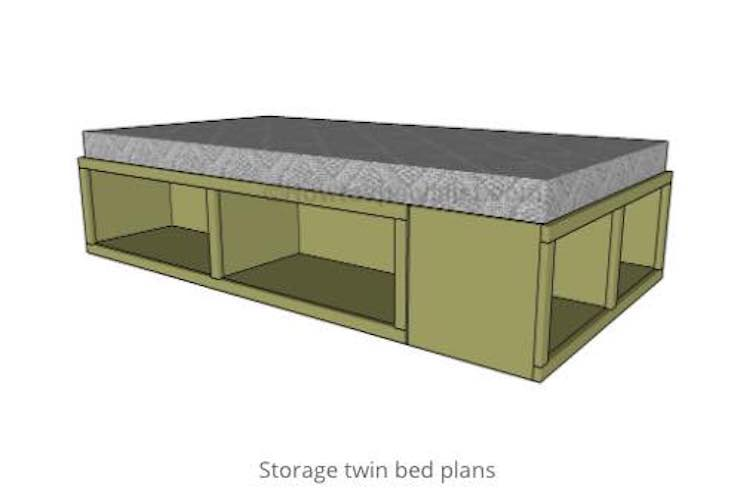 Free plans to build a Twin Bed with Storage.