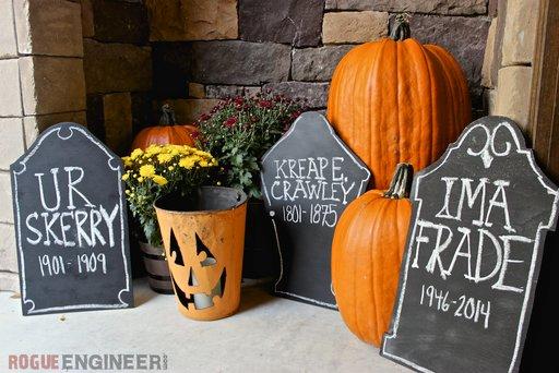 DIY yor own Halloween tombstones.