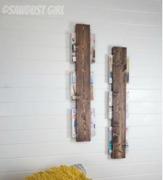 Magazine Rack On the Wall using free plans.