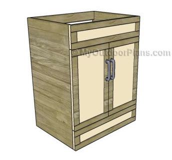 Free plans to build a Bathroom Vanity.