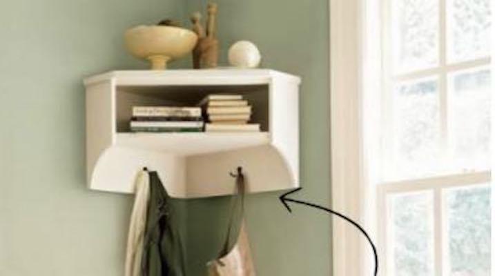 Build this Corner Shelf with Storage using free plans.