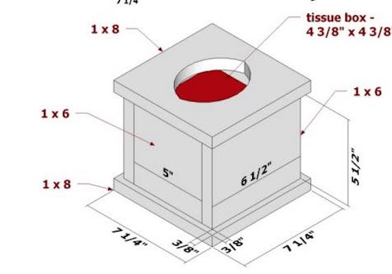 Free plans to build a Tissue Box Cover.